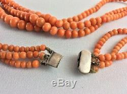 100% AUTH Antique Victorian Salmon Coral Beads 3 strands granduate carved beads