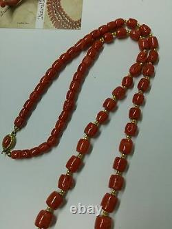 104 Gram Natural dark red coral Necklace drum beads 15.4- 7 mm 75 cms
