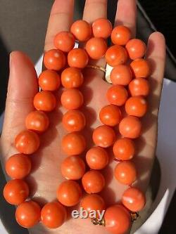 105.8 Gramm 12mm-13.8 large natural coral bead coral necklace