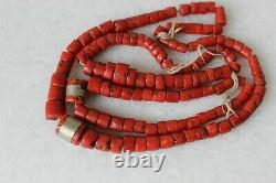108gr Antique Dark Red Coral Necklace Bulls Blood Color Undyed Coral Beads