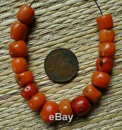 10mm Perles Corail Rouge Ancien Collier Antique Moroccan Red Coral Bead Necklace