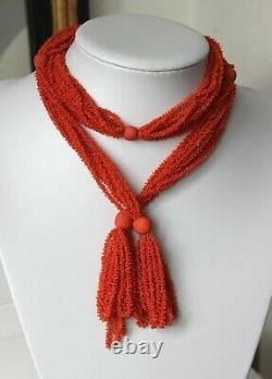 110gr Antique Victorian Carved Coral Necklace Lariat Natural Undyed Beads