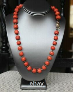 111gr Antique Natural Large Coral Necklace Natural Undyed Beads Gold Clasp 14k