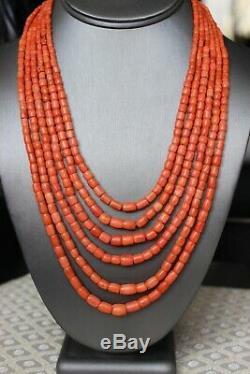 111gr Antique Salmon Coral Beads Barrel Shape Natural Undyed Ukrainian Necklace