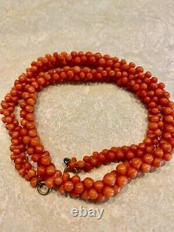 12 Gifts 4 Christmas Antique Salmon Coral Necklace 18g Knuckle bone beads rare