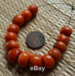 12mm Perles Corail Rouge Ancien Collier Antique Moroccan Red Coral Bead Necklace