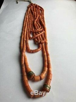 148gr Antique Coral Beads Natural Undyed Ukrainian Necklace