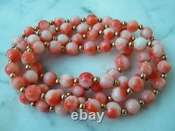 14K ANGEL SKIN Gold 30in 7.5mm Bead CORAL NECKLACE 78 3mm Gold Beads