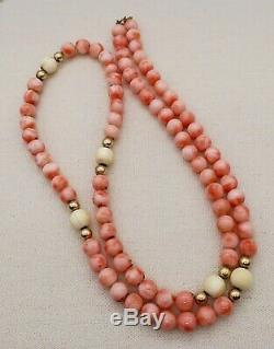 14K Gold ANGEL SKIN & WHITE BEAD CORAL NECKLACE 30 Long & 72 Grams