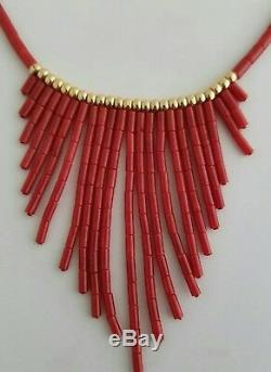 14K Gold Beads and Clasp Italian Natural Coral Tube Necklace