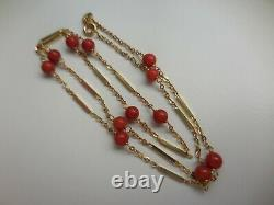 14k Gold Italian Coral Bead and Bar Link 20 Inch Chain Necklace 3 Available