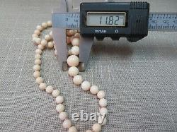 14k Vtg Angel Skin Coral Beads Necklace 20 Hand Knotted 5-11mm Graduated Beads
