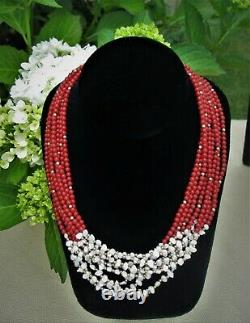 14kt Gold Clasp 8 Strand Red Coral Freshwater Pearls Beaded Necklace