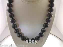 14mm One-strand Genuine Black Coral Round Bead 14k Yellow Gold Necklace 20 #2