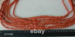 182gr Antique Coral Natural Undyed Beads Coral Necklace Barrel Shape Beads