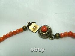 18 Victorian Antique Hand Carved Coral Beads Graduated Necklace