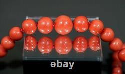1930' Natural Mediterranean Salmon Red Coral Beads Necklace 14k Gold Clasp 60gr