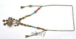1930's Chinese Solid Silver Drum Pendant Agate Turquoise Coral Bead Necklace