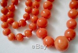 19 Victorian-Deco Natural Mediterranean Coral 3.5-7mm Round Bead Necklace-11 gr