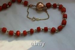 20gr Antique Natural Coral Necklace Natural Undyed Beads Dutch Gold Clasp 14k