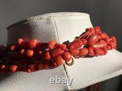 233gr Vtg 14k Gold Carved Coral Oxblood Beads Multi Strand Sautoir Necklace 37