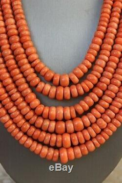 237gr Antique Salmon Coral Necklace Natural Undyed Beads