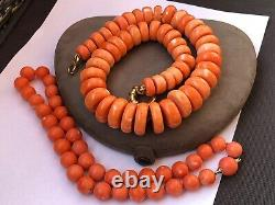 239 gram Rare large natural coral bead coral necklace gold