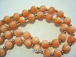 24 Vintage 1960s Natural 6mm Pink Coral and 14K Gold Beaded Necklace 31g