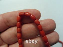 25 Gr. Antique Natural Untreated Orange Red Coral Beads Necklace
