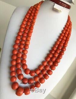 294g original antique undyed Ukrainian coral Necklace Beads
