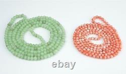 2 Vintage Necklaces, Orange/Pink Angel Skin Coral & Apple Green Jade Beads 4-5mm