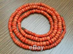 34 gr Antique Vintage Old Natural Salmon Coral Undyed Beads Necklace Russian