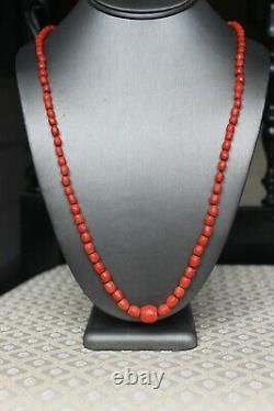 37gr Antique Faceted Red Coral Necklace Natural Undyed Beads Gold Clasp 750