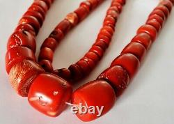 42 Inch Large antique Natural Tibetan graduated red coral barrel beads necklace
