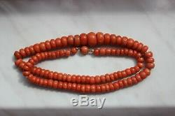 42gr Antique Salmon Coral Necklace Natural Undyed Beads