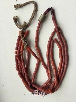 44gr Antique Coral Beads Natural Undyed Ukrainian Necklace Large and medium siz
