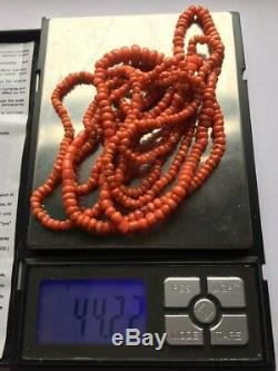44gr Antique Salmon Coral Beads Natural Undyed Ukrainian Necklace