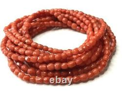 45 gr. Antique Old Faceted natural Red coral bead coral necklace Strand No Clasp