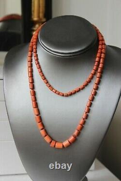 45gr Antique Vintage Coral Necklace Natural Undyed Cut Shape Coral Beads