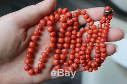 49gr Antique Red Coral Necklace Natural Undyed Beads