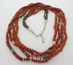 4-Strand High Grade Natural Mediterranean Red Coral Bead Necklace