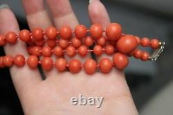 51gr Antique Salmon Coral Necklace Natural Undyed Beads Silver Clasp