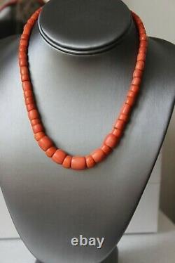 52gr Antique Coral Necklace Natural Undyed Barrel Shape Coral Beads