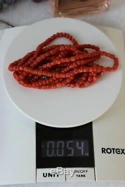 54gr Antique Salmon Coral Beads Barrel Shape Natural Undyed Ukrainian Necklace