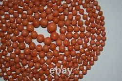 57,9 gr Alte Korallen Kette Real Coral Necklace Beads Lachskoralle Vintage