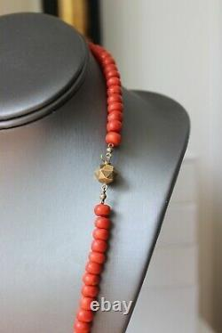 58gr Vintage Red Coral Necklace Natural Undyed Beads Dutch Clasp Gold 14k