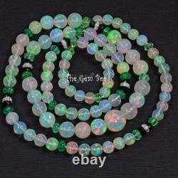 5.1-10.3mm 18k White Gold Natural Opal Round Bead Emerald Diamond 24 necklace