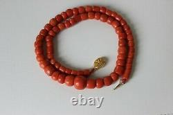 63gr Antique Coral Necklace Natural Undyed Beads