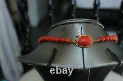 64gr Antique Faceted Red Coral Necklace Natural Undyed Beads Gold Clasp 750