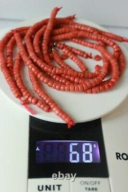 68gr Antique Coral Natural Undyed Beads From Necklace Old Stock